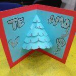 Tarjeta navideña pop up de arbolito